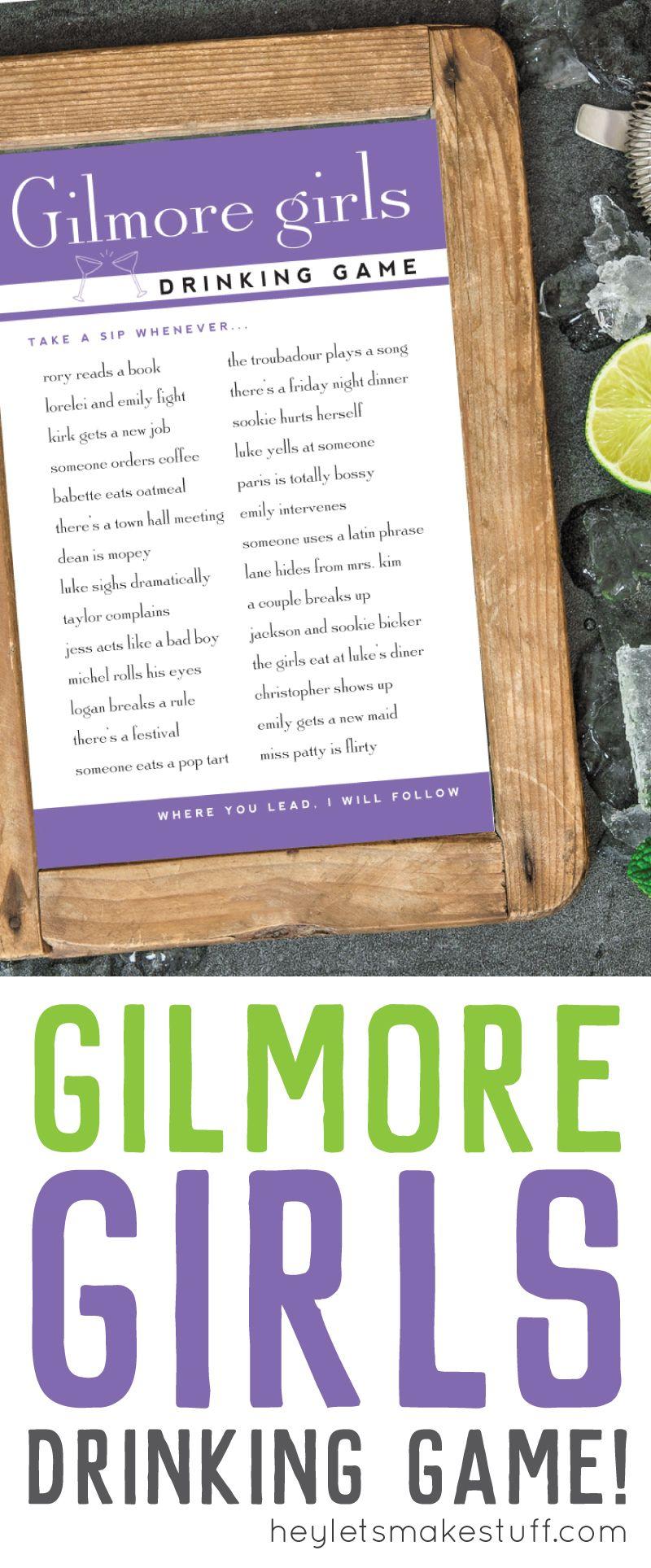 Printable Gilmore Girls Drinking Games Drinking games
