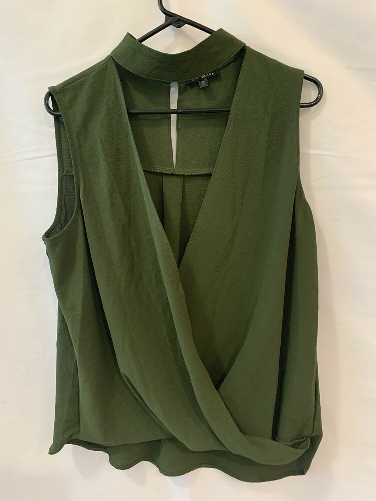 0c1dc903b40 Lily Black Olive Green Sheer Plunging Neckline Blouse Size XL NWT   LilyBlack  Blouse  Casual