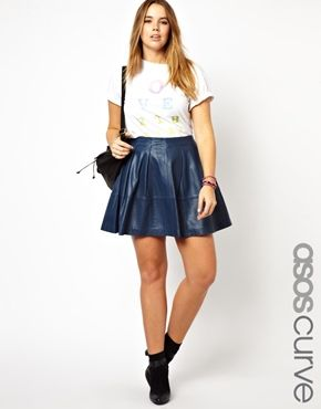 CURVE Exclusive Skater Skirt In Leather | Asos curve, Skater skirt ...