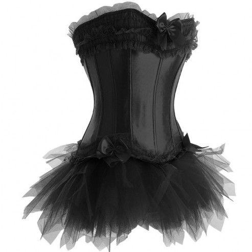 black ruffle corset outfit  black corset dress black