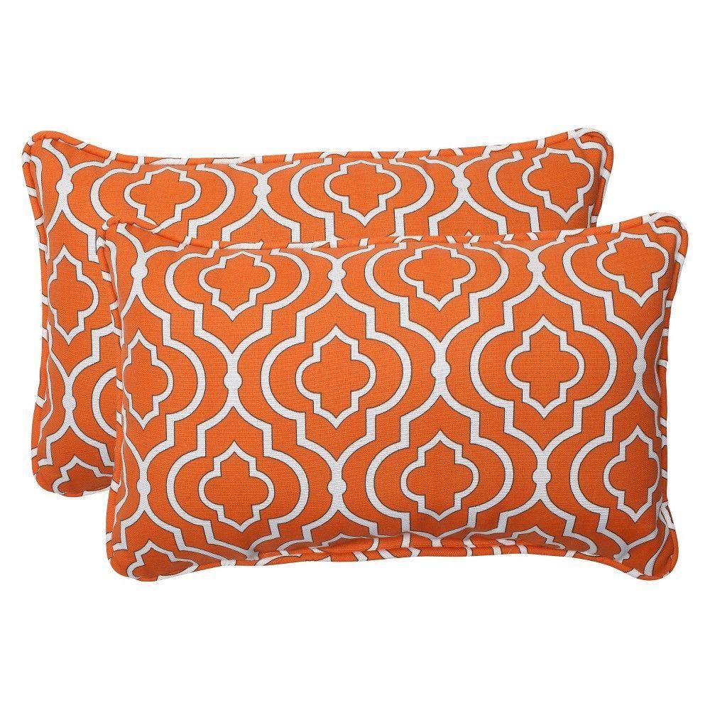 Pillow Perfect 2 Piece Outdoor Lumbar Pillows Starlet Orn Wht