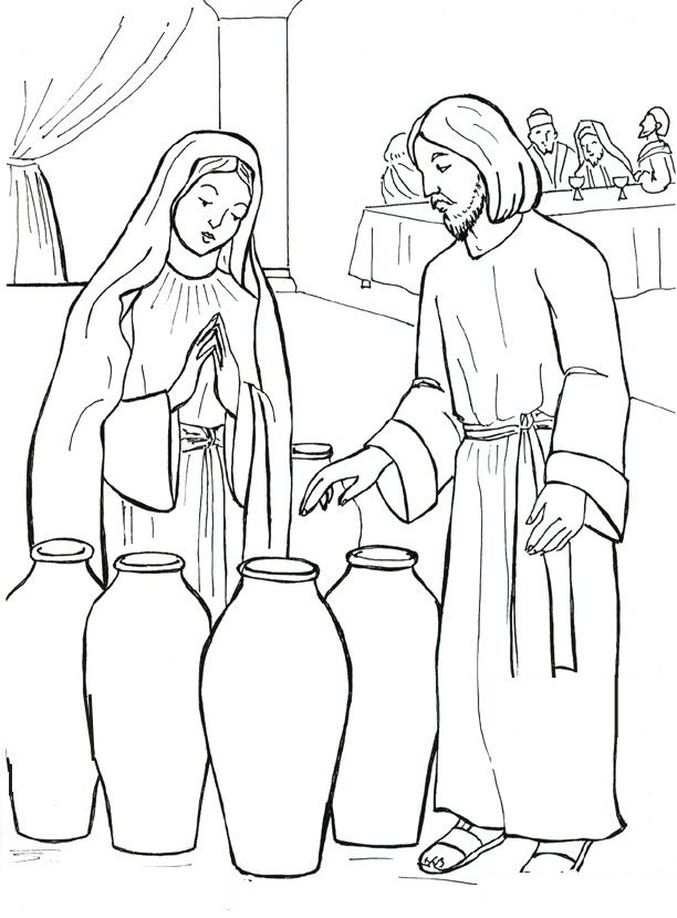 The Start Of Jesus Public Ministry Wedding Feast Cana Catholic Coloring Page
