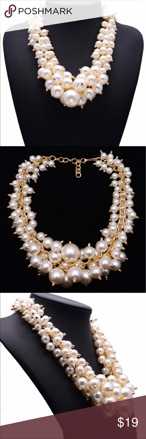 New Pearl Layered Statement Necklace Stunning Best lady New Arrival Fashion Simulated Pearl Choker Necklace Luxury Statement Good Quality Jewelry Hotsale Necklace 9954 Dallas Stylez Jewelry Necklaces