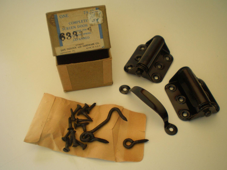 Vintage Screen Door Hardware Set New In Box Spring Hinges, Handle, Hook Eye