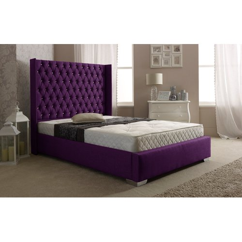 Fuller Upholstered Bed Frame Rosdorf Park Colour Purple Size