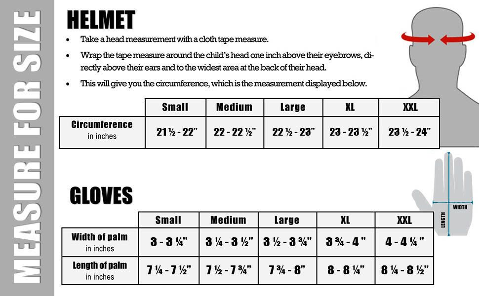 Helmet Size Chart For Dual Sport Helmets From Typhoonhelmets Com
