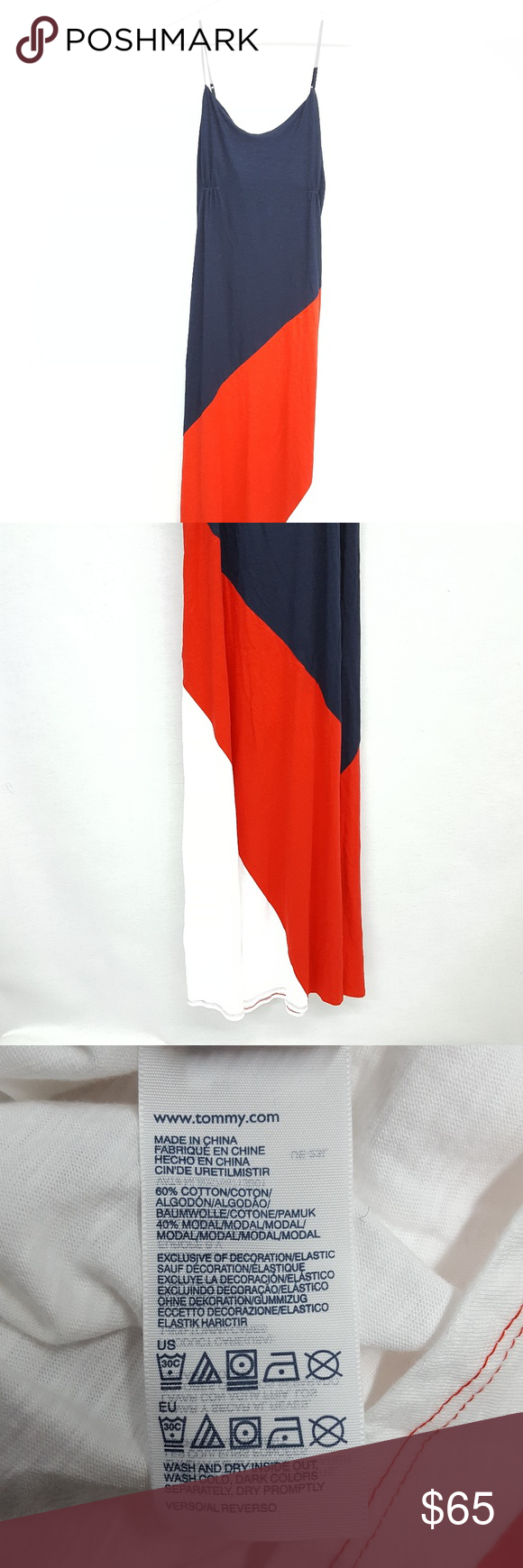 2feb7c5fe7 Tommy Red White Blue Color block Maxi Dress A2 Red white and blue color  block maxi dress from TOMMY Hilfiger. NWT Features spaghetti straps and  slightly ...