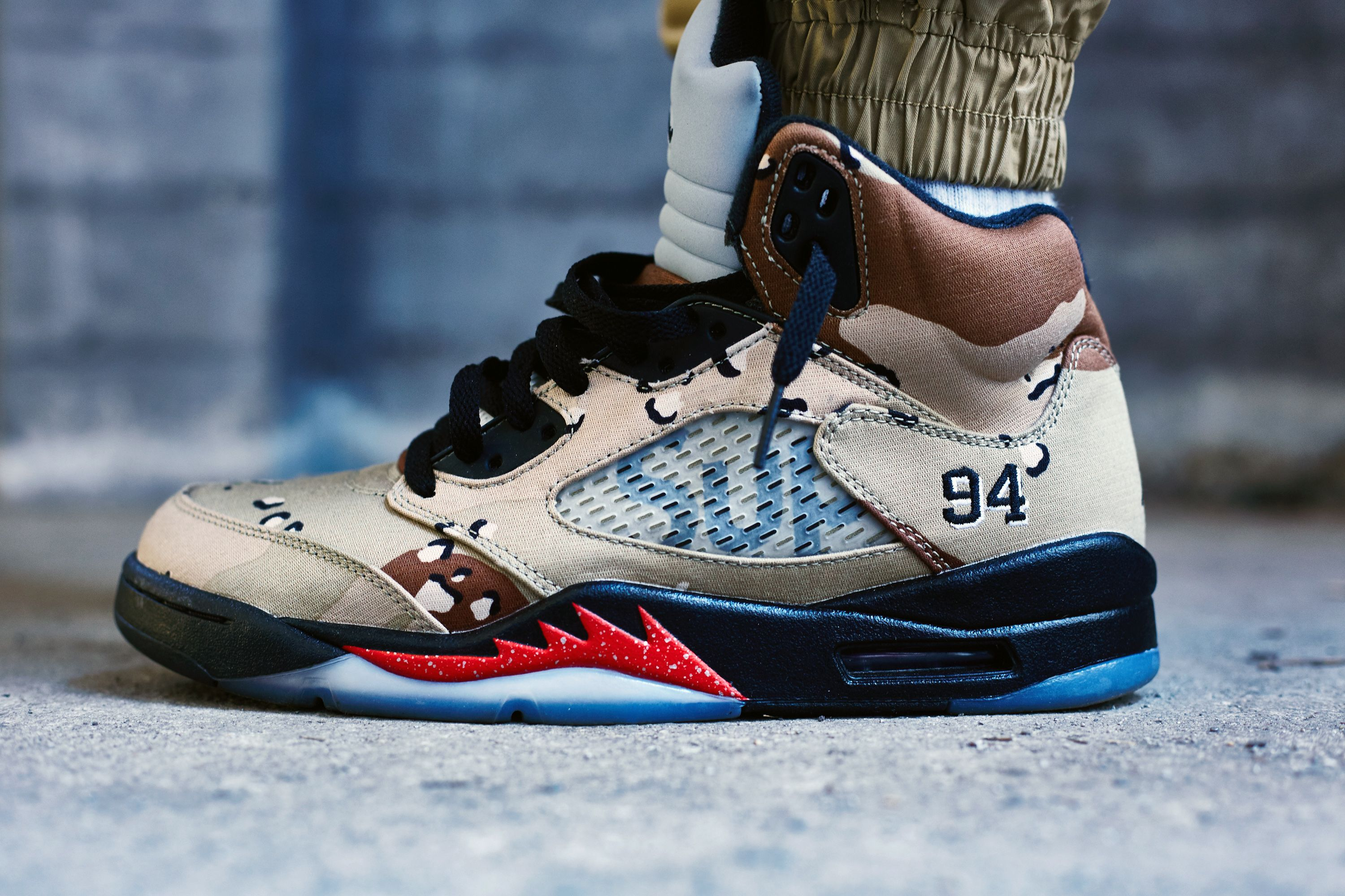 a448ac6971a Supreme x Air Jordan 5 Desert Camo On-Foot Look | The Notorious ...