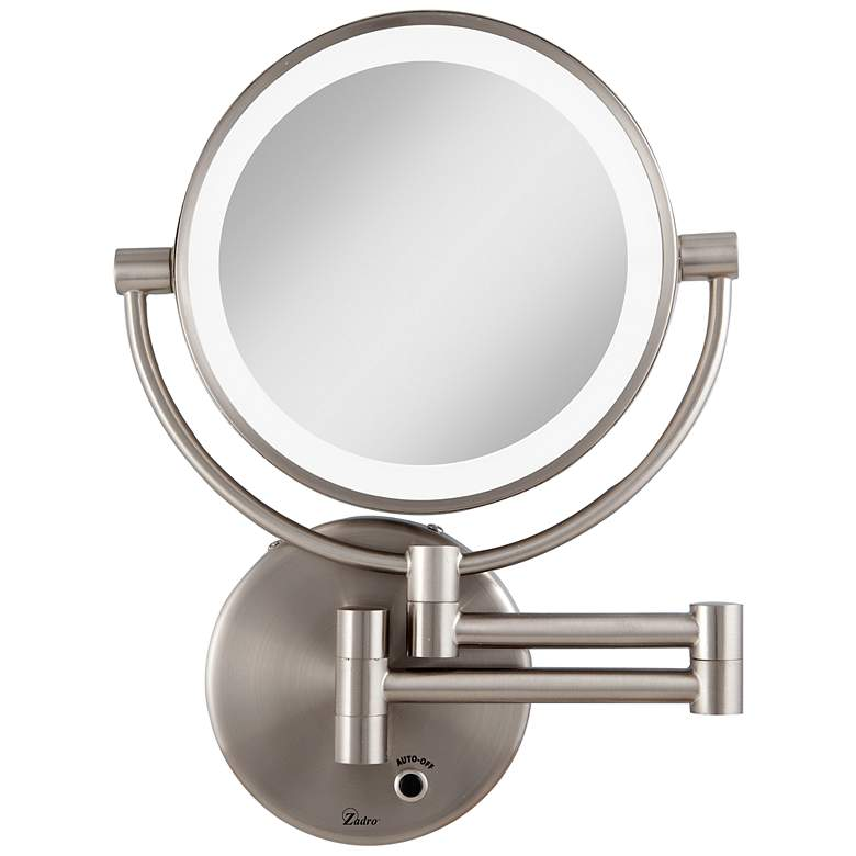 Satin Nickel Cordless Led Lighted Vanity Wall Mirror 6g559 Lamps Plus Wall Mounted Mirror Wall Mounted Magnifying Mirror Wall Mounted Makeup Mirror