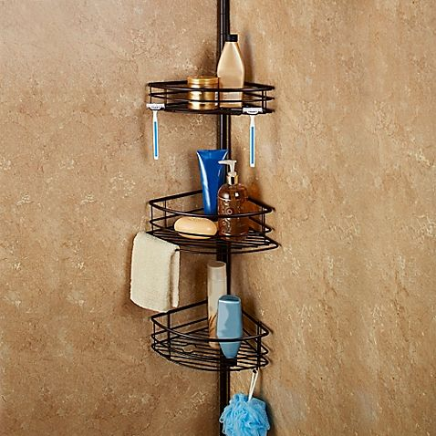 Clean Up The Look Of Your Bath Tub And Shower Area With This Oversized Pole Shower  Caddy. The Three Extra Large Shelves Of The Caddy Pole Are Adjustable And  ...