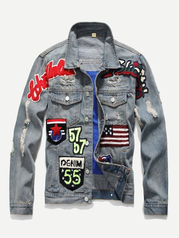 3e0bd8670 Men Patched & Ripped Detail Denim Jacket in 2019 | Xclusive Flair ...