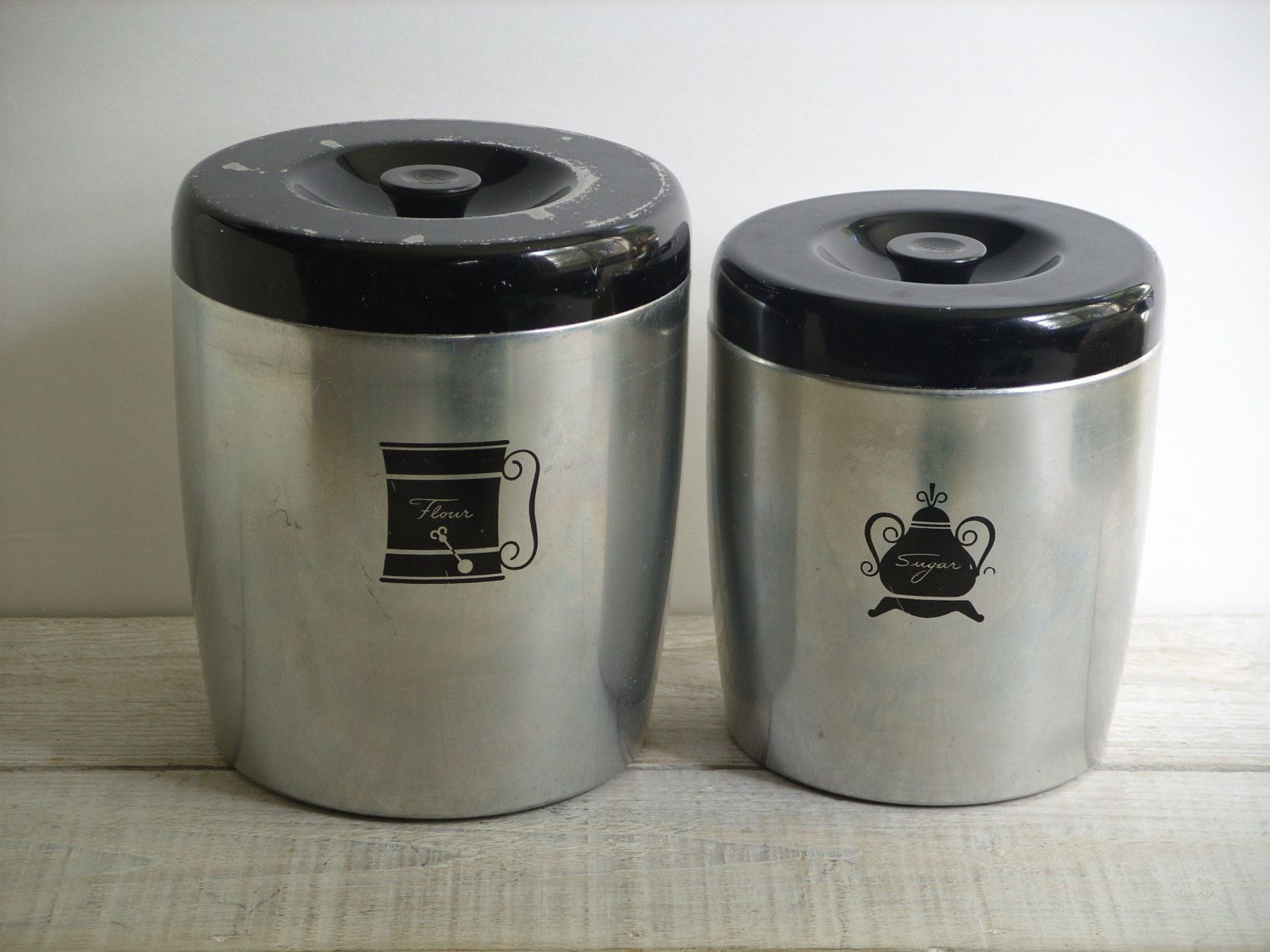 kitchen storage canisters upholstered chairs vintage west bend canister set flour sugar pantry metal