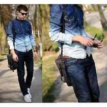 e54c39e3f0 Camisa Masculina Jeans Degrade Caimento Otimo Pronta Entrega