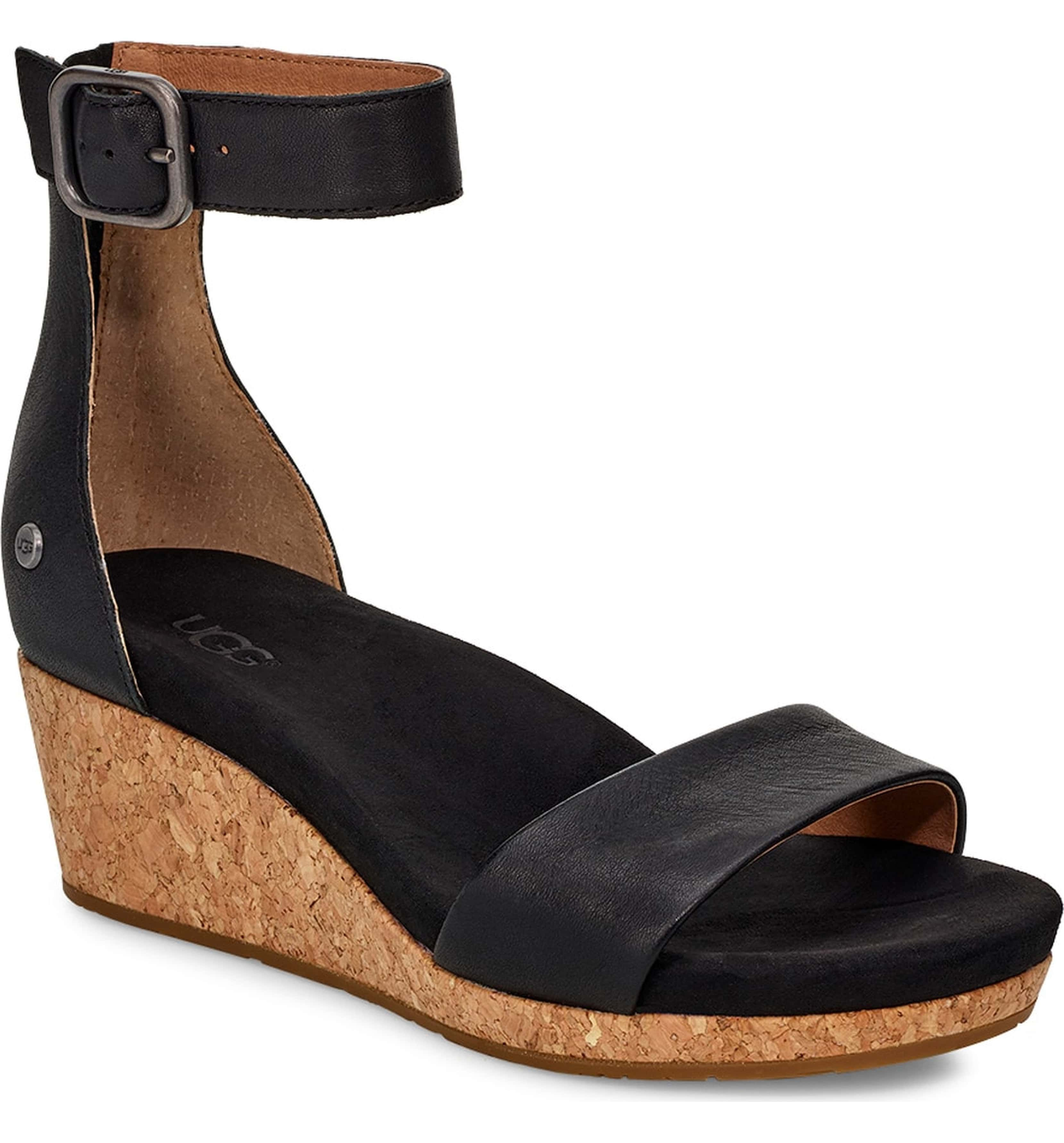 27395d2461a Zoe II Wedge Sandal, Main, color, BLACK LEATHER | Shoes in 2019 ...