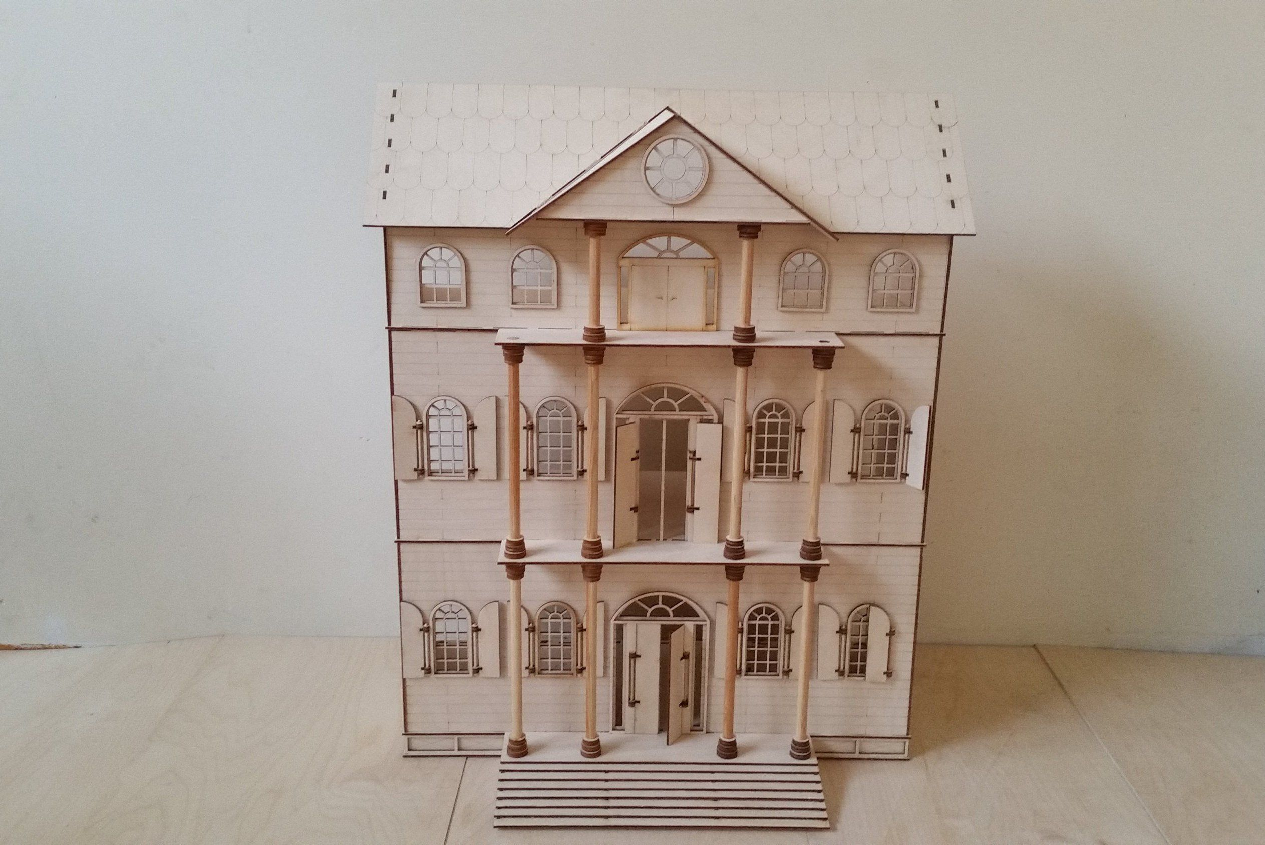 Dollhouse Wooden Dolls House Scale 1 16 Mansion House Diy Apartments Diy Dollhouse Dollhouse Kits