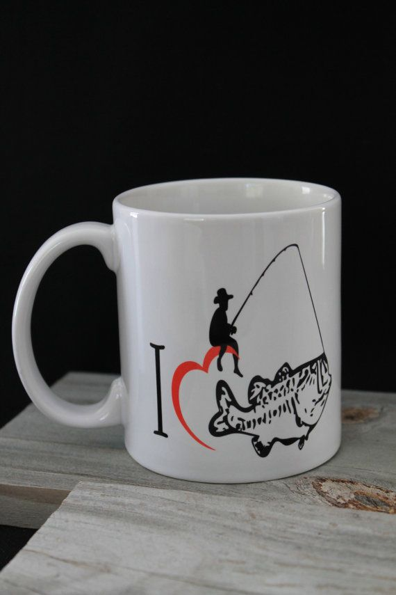 Fishing coffee mug i love fishing father 39 s gift for Fishing gifts for him