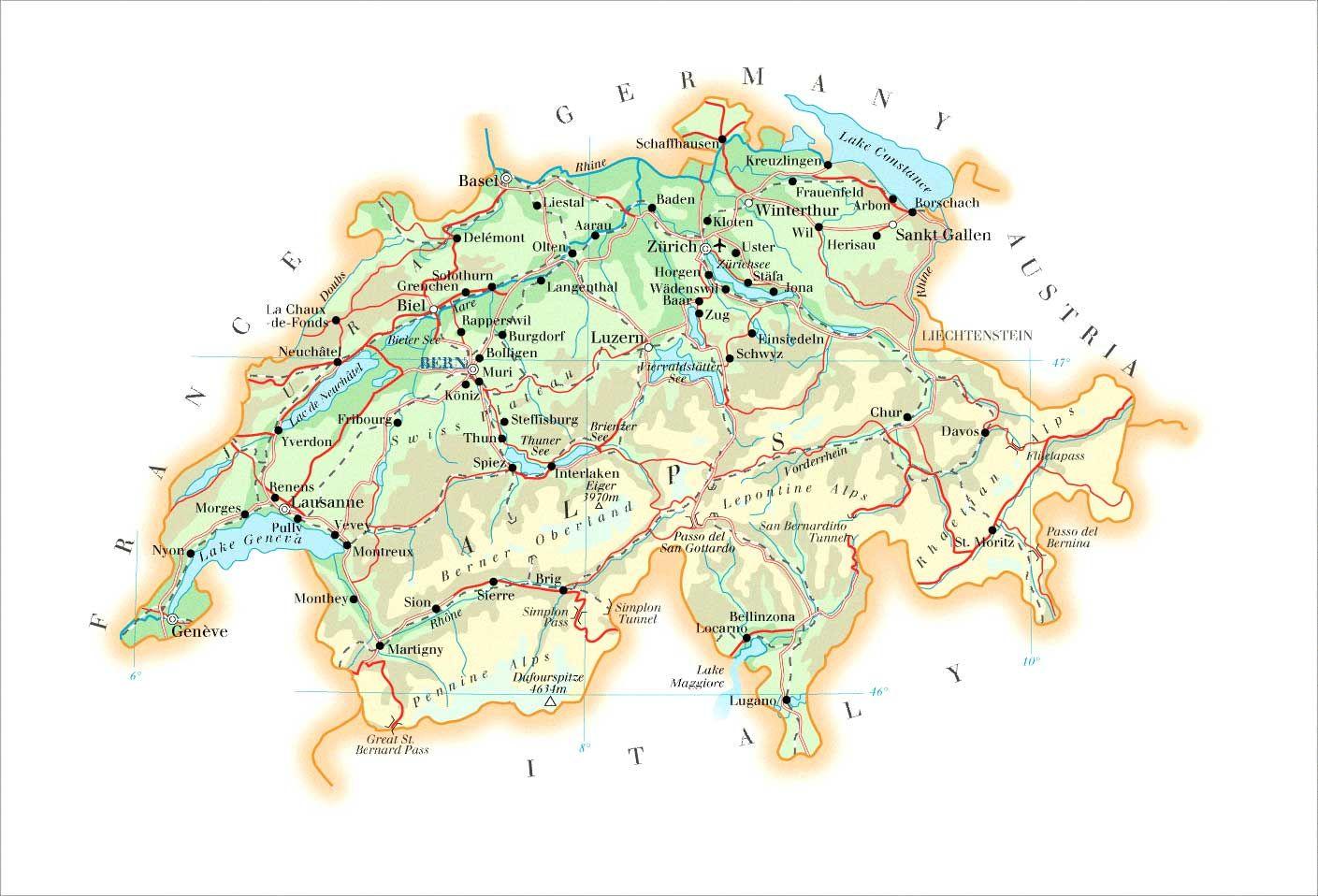 switzerland map | Large detailed physical map of Switzerland ...