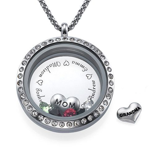 Engraved floating charms locket for mom or grandma origami engraved floating charms locket for mom or grandma mozeypictures Images