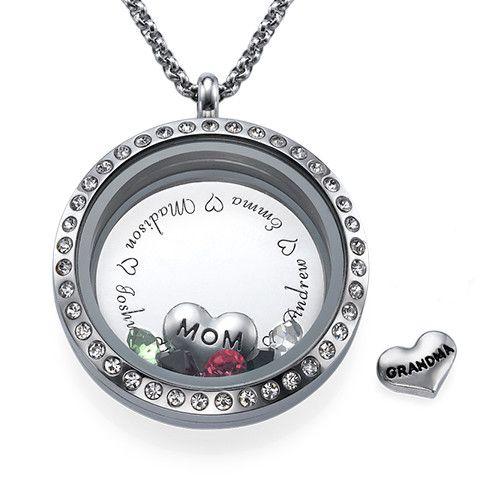 engraved floating charms locket for mom or grandma. Black Bedroom Furniture Sets. Home Design Ideas