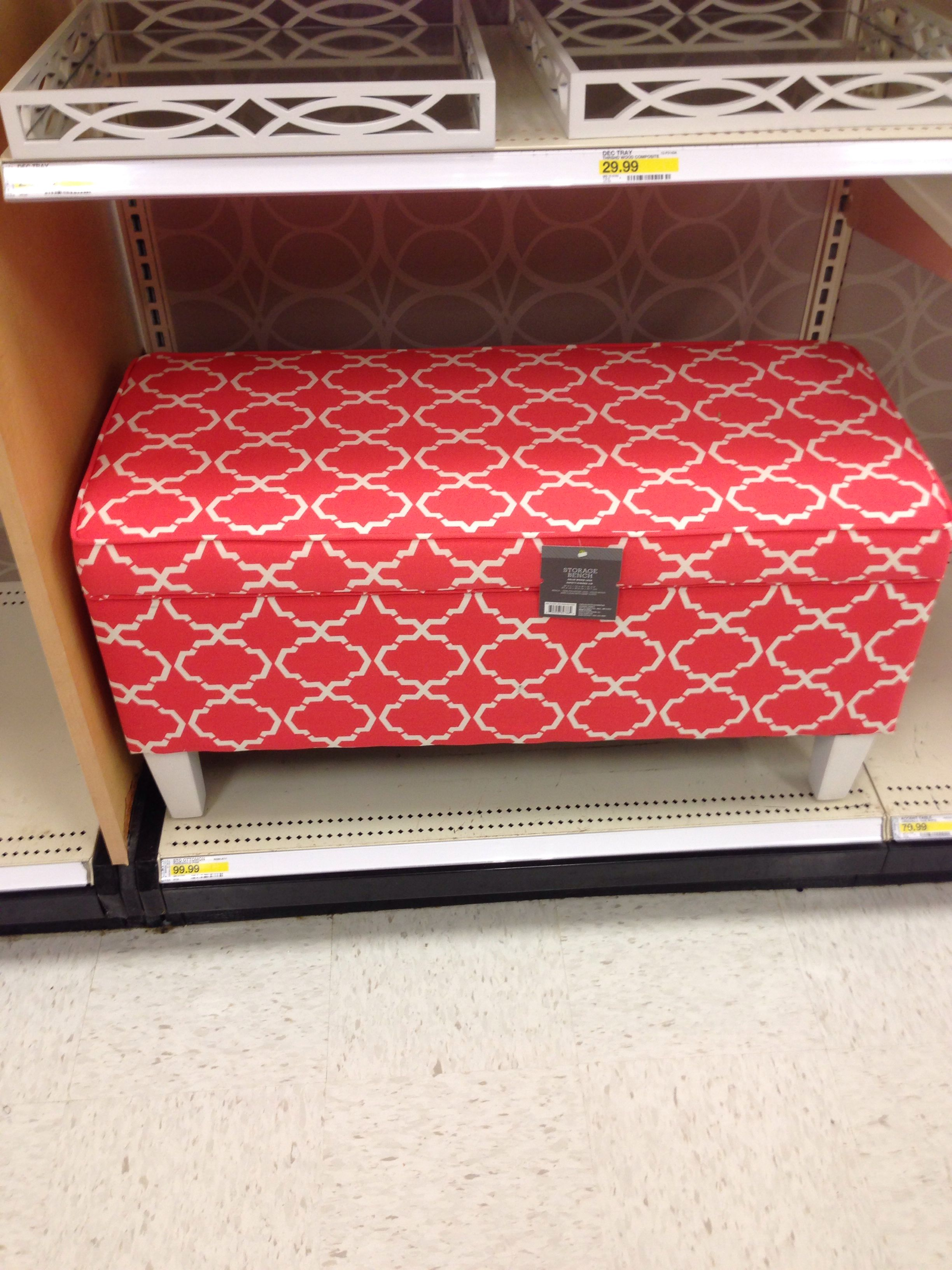 Love this coral ottoman from Target
