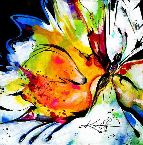 """Grande peinture abstraite de papillon, impression Giclée sur toile, """"extase joyeuse 6"""" de l"""
