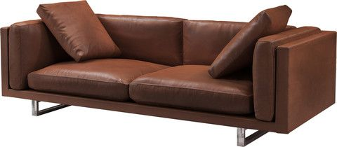 Fulton Three Seater Sofa by Modloft | The elegant and well-proportioned Fulton 3- seater sofa combines luxury and comfort uncommon in contemporary seating. Fulton is built with kiln-dried solid wood frame, polished steel legs, and hand-tailored top grain natural leather. | Now on sale at 15% off, exclusively @ 2Modern Furniture & Lighting.