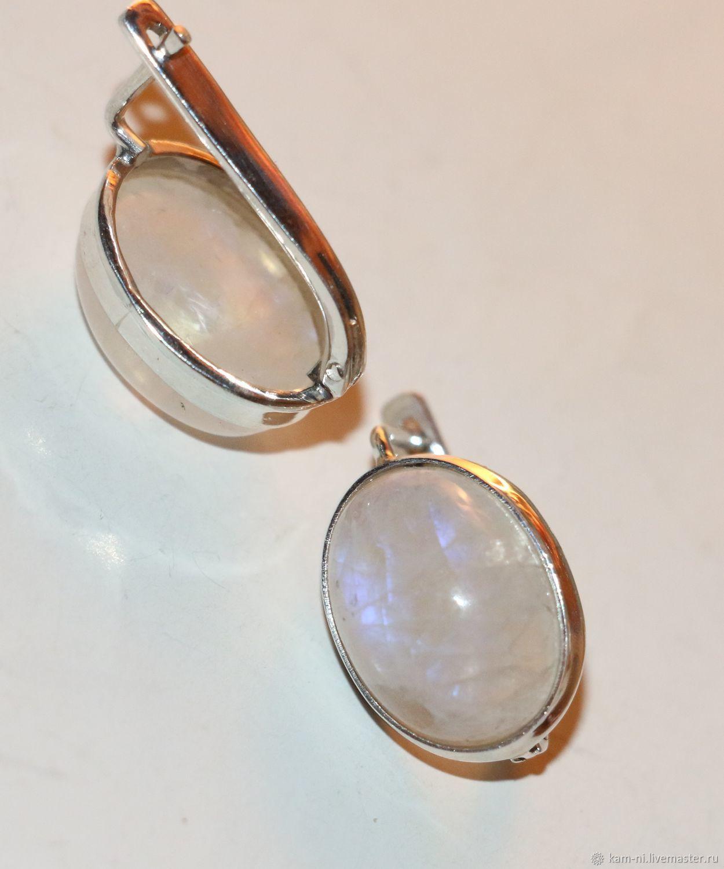 b419972540e1 Серьги лунный камень адуляр натуральный природный серебро 925 ...