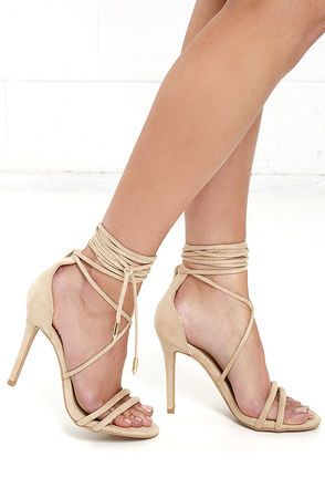Our sexy heel of choice is the Sadie Nude Suede Lace-Up Heels! Soft vegan suede covers padded toe straps, and extends into extra-long laces with gold aglets.