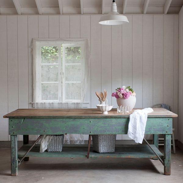 Dining Table---Rachel Ashwell Shabby Chic Couture - Green Work Table - SOLD