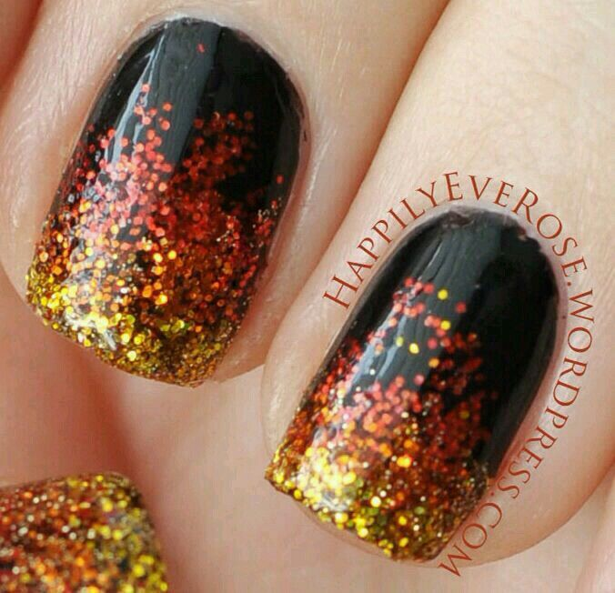 Black With Orange Yellow Glitter Halloween Themed Nails Fire Nails Thanksgiving Nails Nail Designs