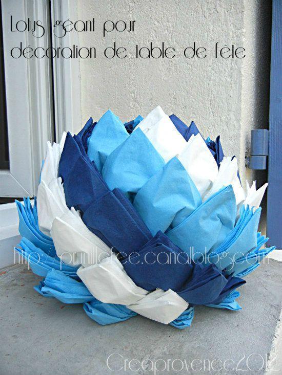 lotus géant en serviettes en papier. pour cocktail. serviettes