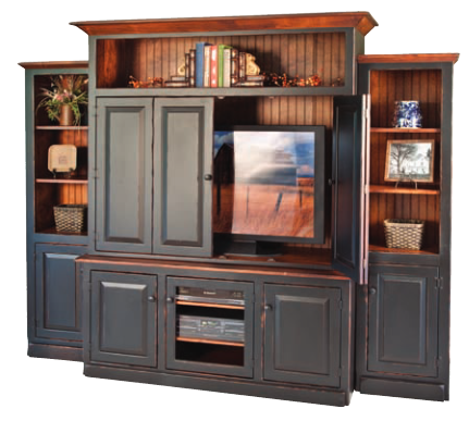 3 Piece Entertainment Center With Premium Finish Options This Pine Wood Entertain Wood Entertainment Center Country Cottage Furniture Painted Bedroom Furniture