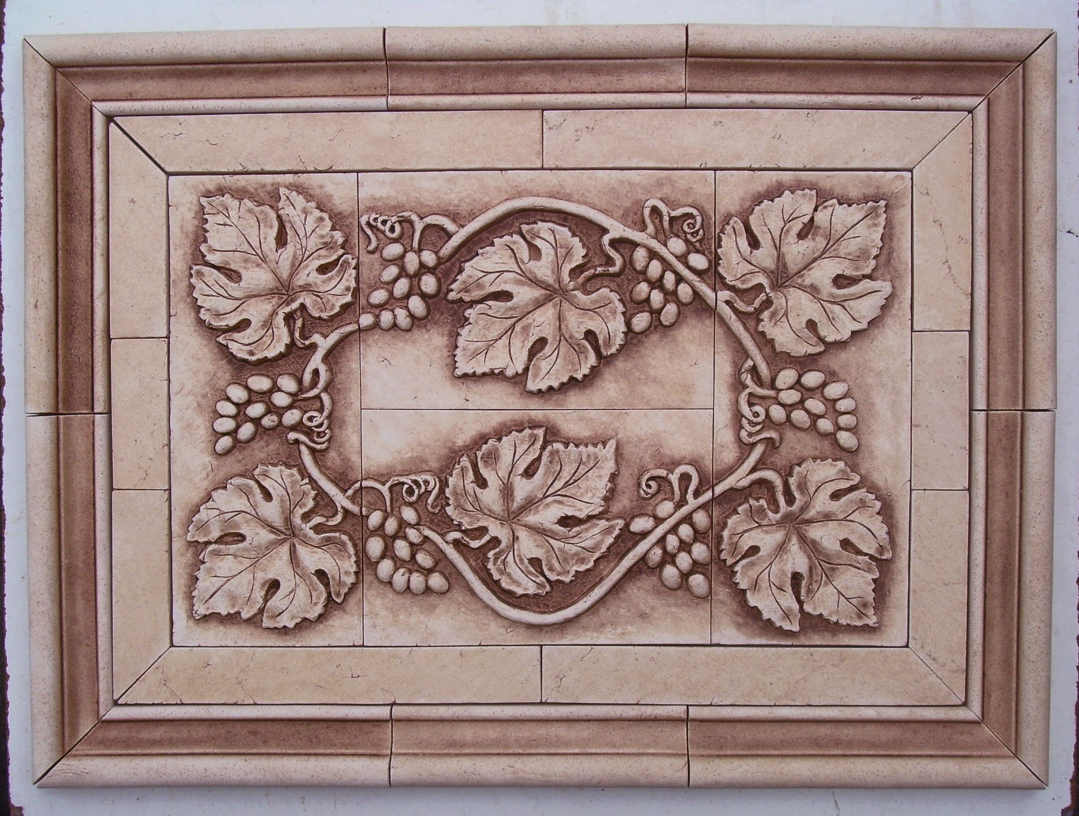 Decorative Tile Medallions Grapevine Tile Medallion  Large Hand Pressed Decorative Tiles