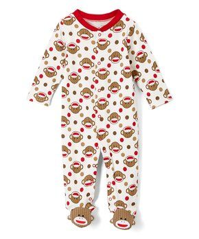 6d5ef0e3a4 Baby Starters Red   White Monkey Footie - Infant