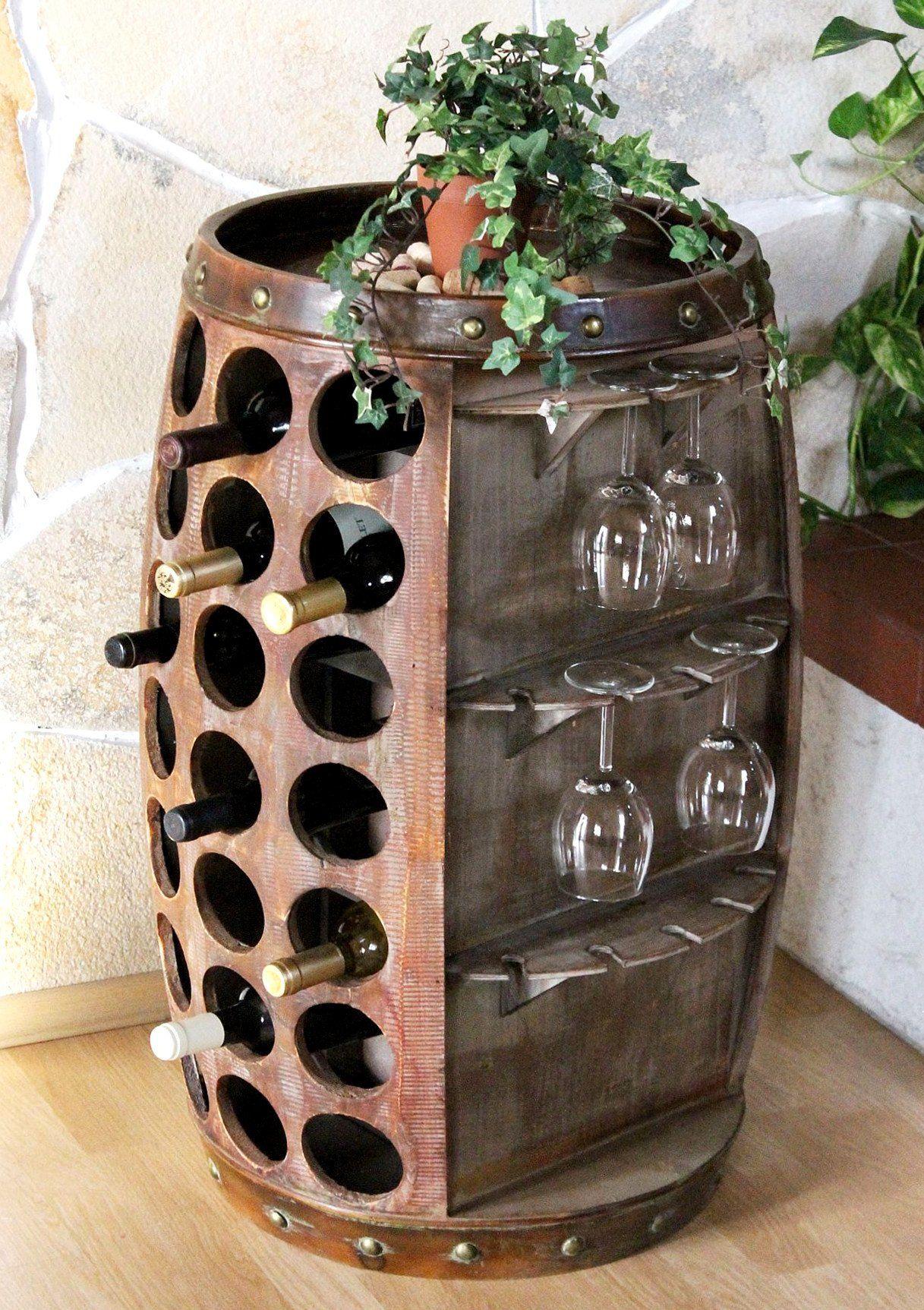 Weinregal Weinfass Bar Braun H-84cm Nr.0416 Flaschenständer Regal ...