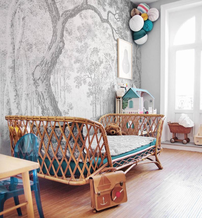 Enchanted Forest Nursery Removable Wallpaper Woodland Retro Etsy Removable Wallpaper Nursery Enchanted Forest Nursery Removable Wall Murals