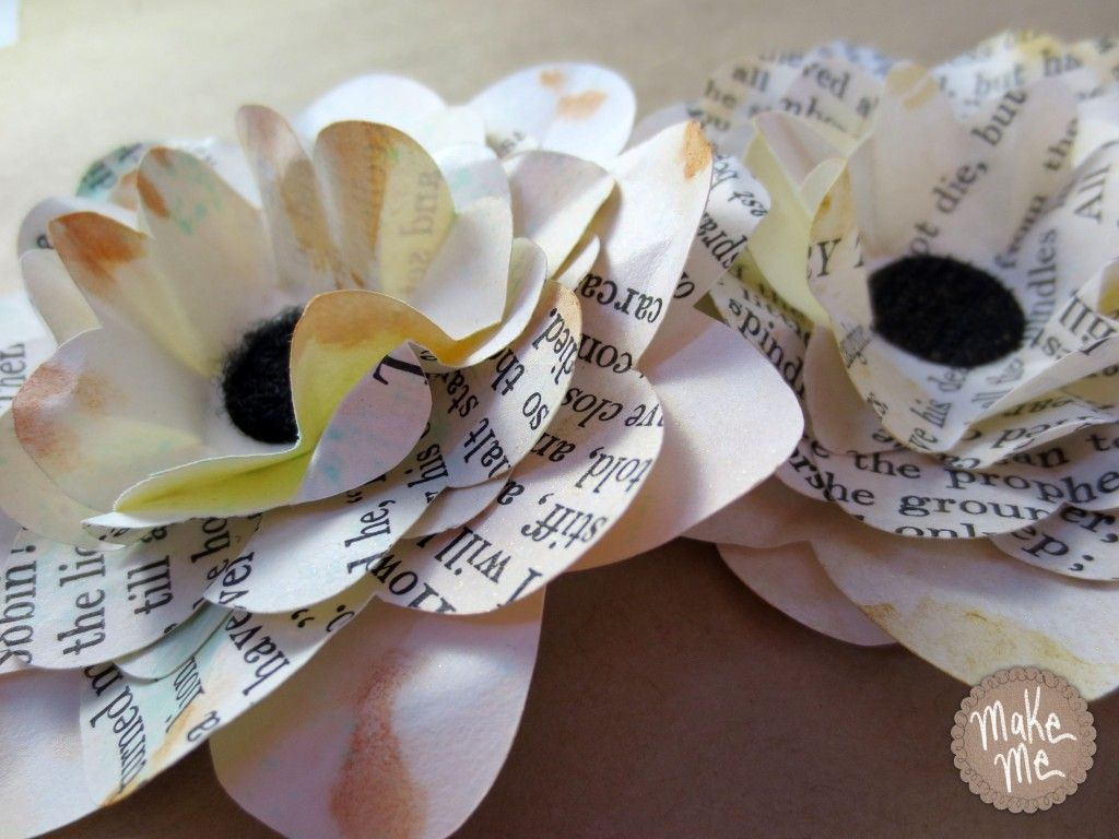 Tutorial For Making 3 D Paper Flowers From Recycled Book Pages With
