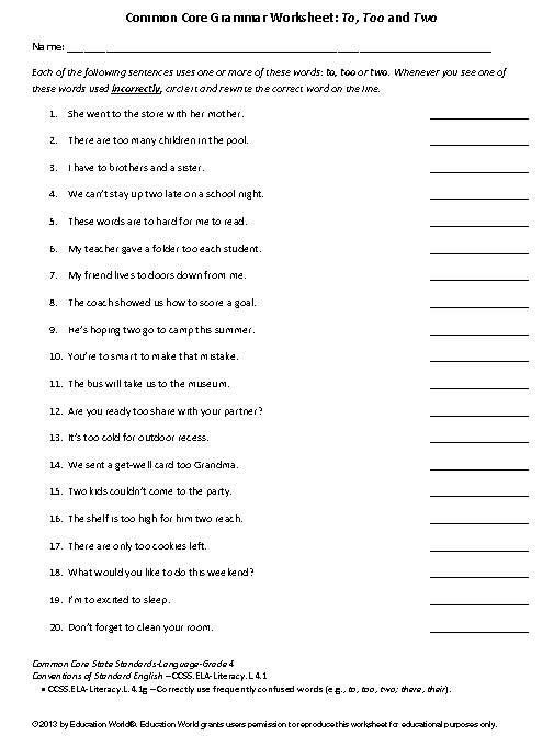 Worksheets Common Core Grammar Worksheets education world coomon core grammar worksheet to too and two two