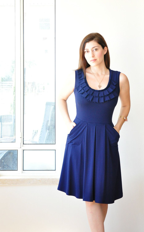 Blue womens dress sleeveless custom bridesmaid dress with pleated