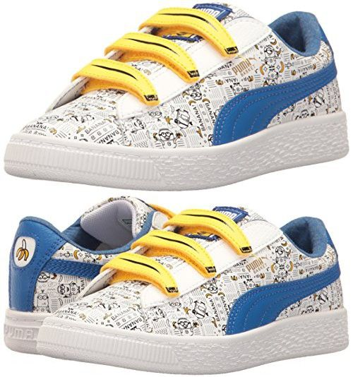PUMA Kids Minions Basket V SneakerPuma WhiteLapis Blue7 M