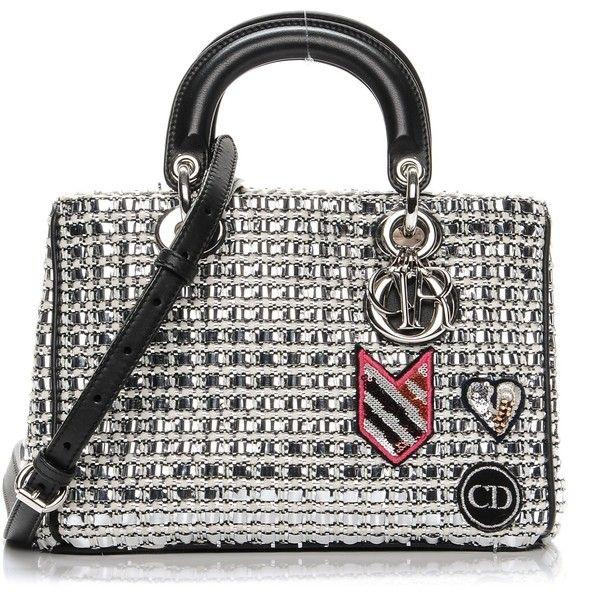 a49837dfbfa CHRISTIAN DIOR Metallic Tweed Mini Diorissimo Silver ❤ liked on Polyvore  featuring bags, handbags, mini tote handbag, white tote bag, silver handbags,  ...
