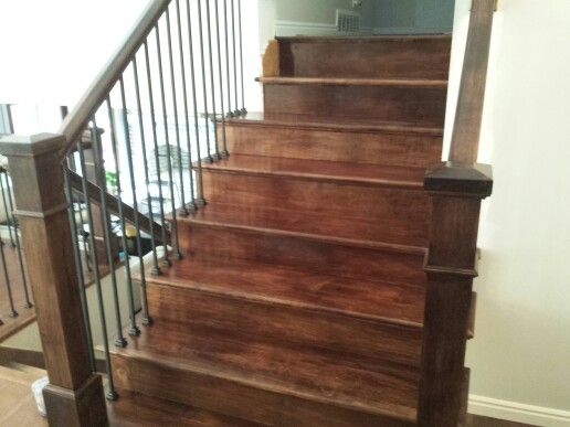 Solid Maple Stair And Railing .With Black Iron Balusters We Installed.