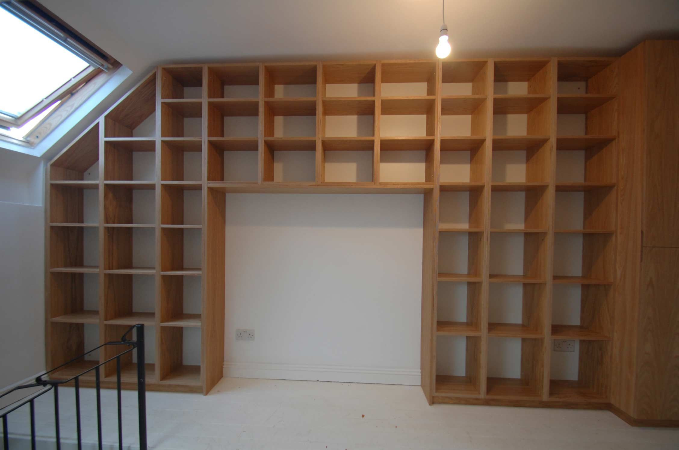 bespoke mezzanine book shelf with sofa nook bethnal green london