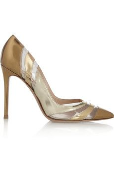 Gianvito Rossi Perspex-paneled metallic patent-leather pumps  | NET-A-PORTER