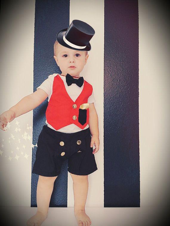 a050df2e5 S-A-L-E 》Circus Ringmaster outfit-Shorts & bodysuit ||baby boy/ girl  Birthdays, photography, magician , wedding black, red, gold,