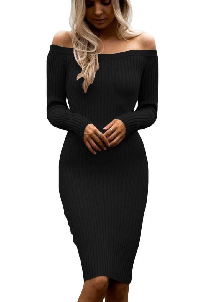 d5e17a18631e Black Off Shoulder Long Sleeve Midi Rib Knit Sweater Dress