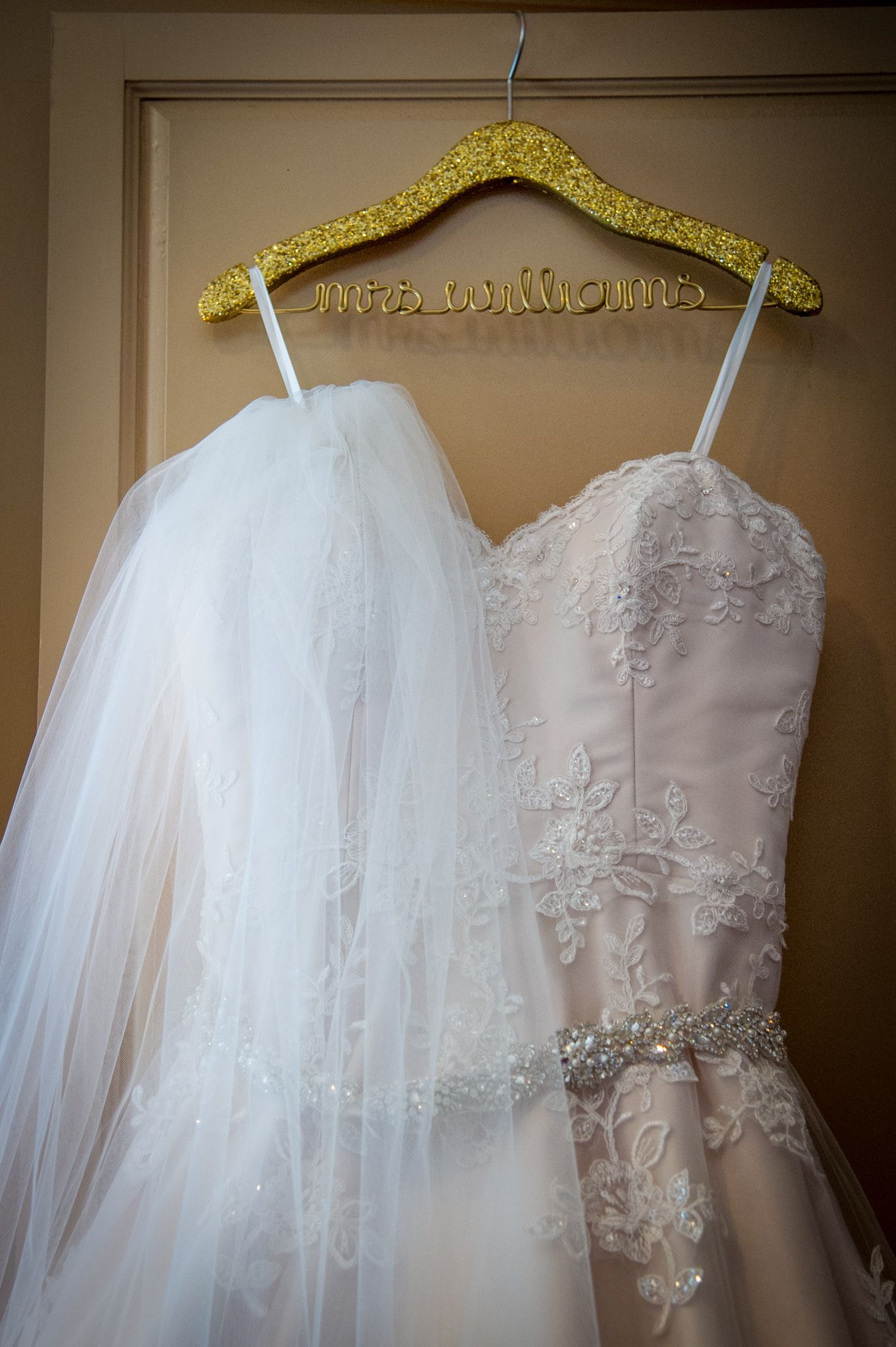 off white lace wedding dress with belt, long veil, custom hanger ...
