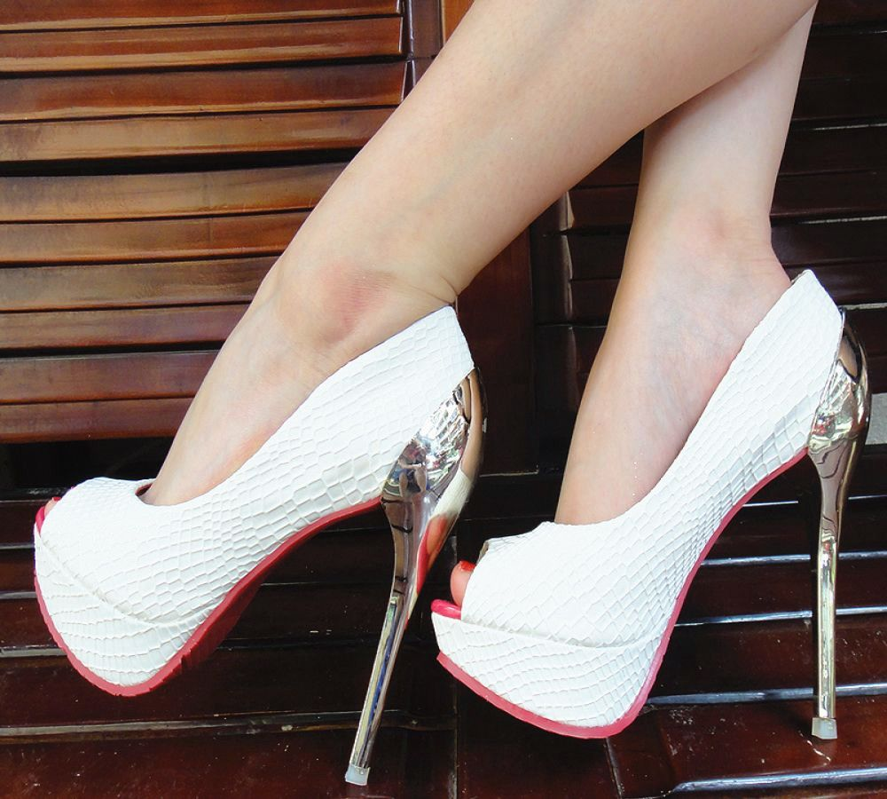 Leather 14cm Ultra Thin Heels White Wedding Shoes