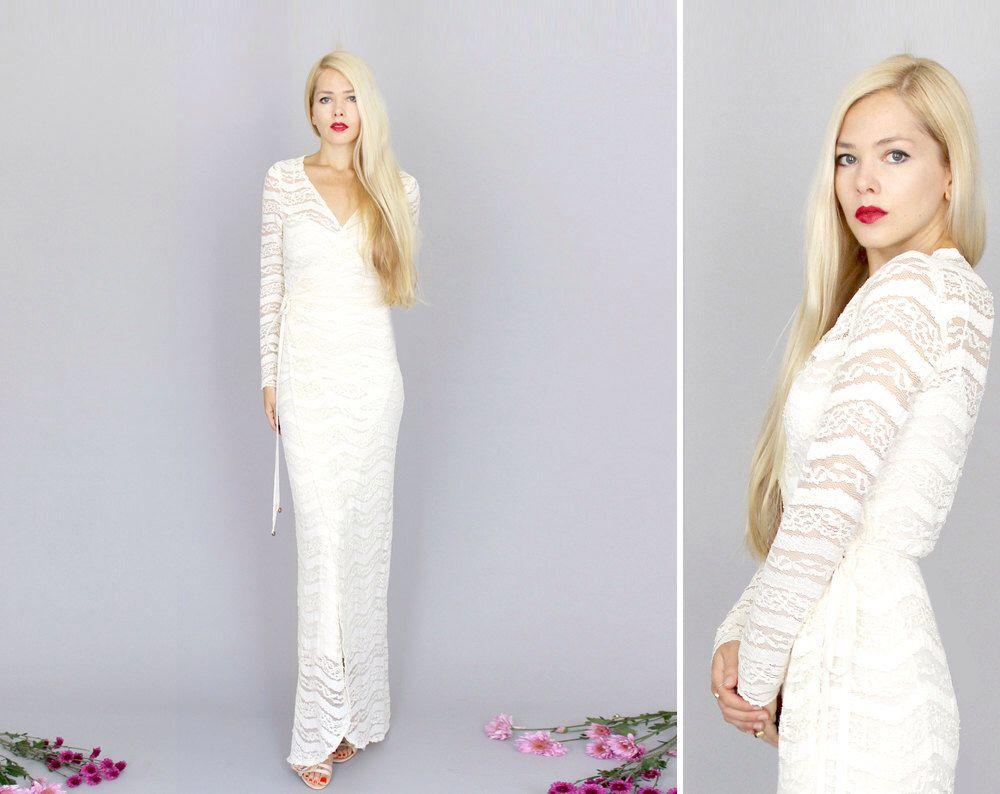 Marrakech boho hippie beach long sleeve vintage lace wedding gown
