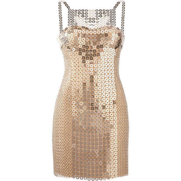 035fdf0d87d Versace Chain-mail and silk-satin mini dress ( 8